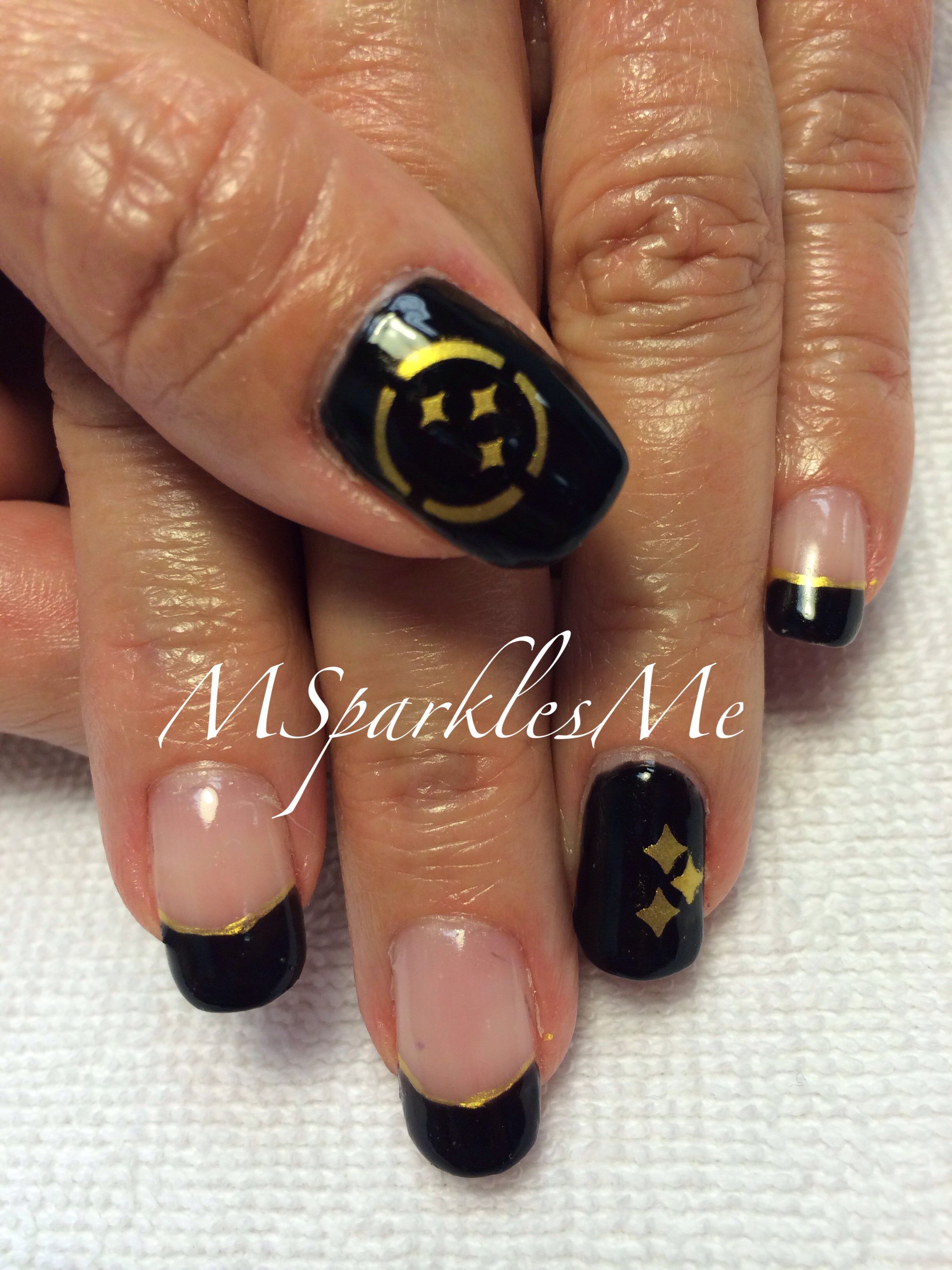 Throw back Steeler nails done with Shellac