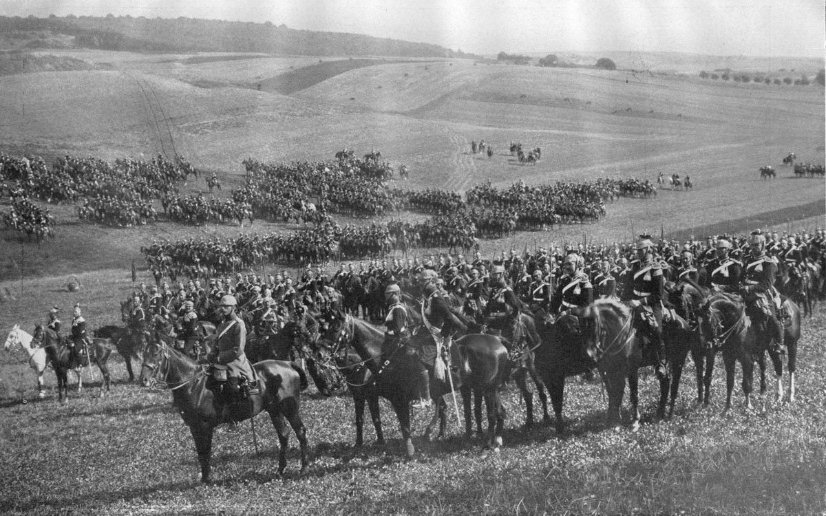 German Imperial Cavalry Division during maneuvers in 1912. Note ...