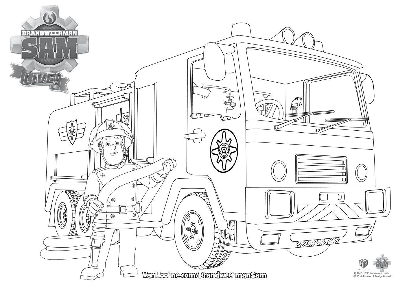 afbeeldingsresultaat voor kleurplaat brandweerman sam
