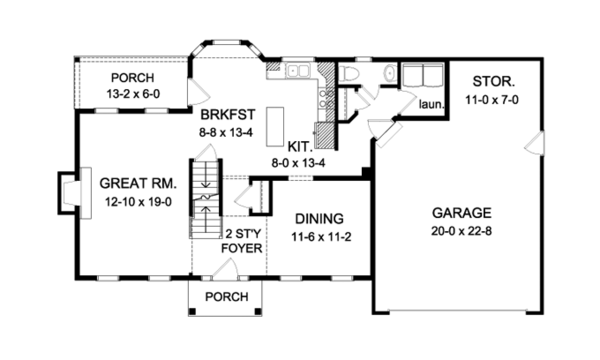 Colonial Style House Plan 4 Beds 2 5 Baths 2089 Sq Ft Plan 316 291 House Plans Colonial Style Homes Floor Plan Design