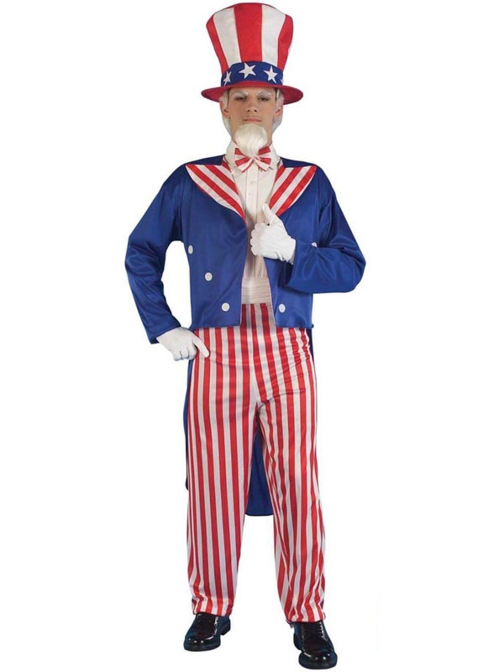Uncle Sam 4Th July American Stars /& Stripes Men Fancy Dress Costume US Flag USA