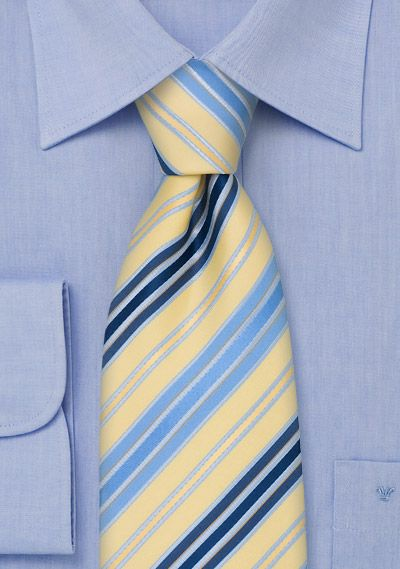 Yellow and Blue Striped Tie, $10 | Cheap-Neckties.com