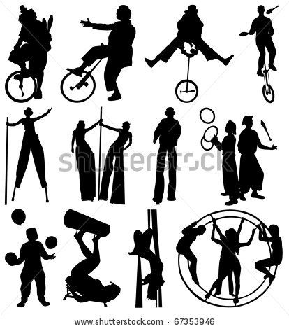stock vector : silhouettes of the circus