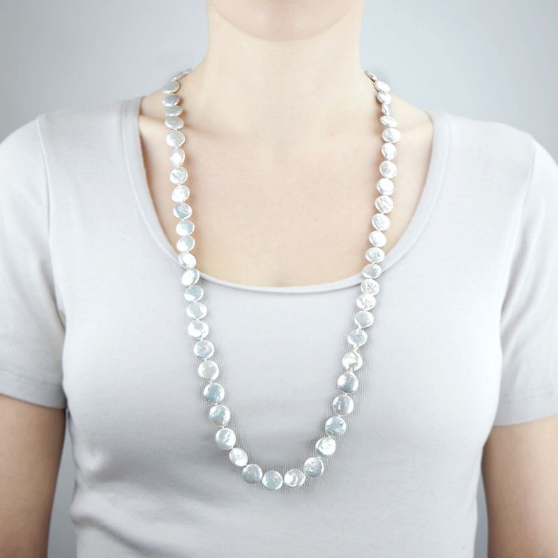 Coin shaped cultured freshwater pearl long strand necklace