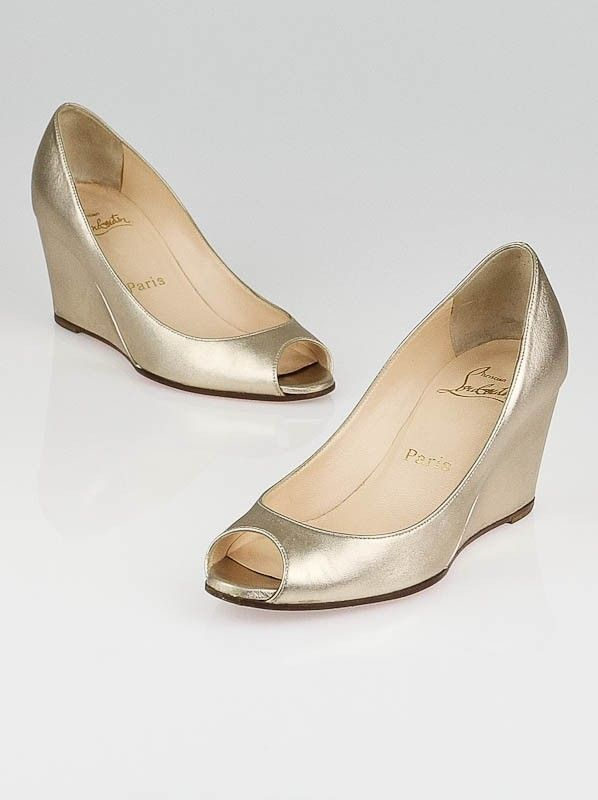 f6d885cf7e0 Christian Louboutin Gold Leather Materna Peep Toe Wedges Size 4.5/35 ...