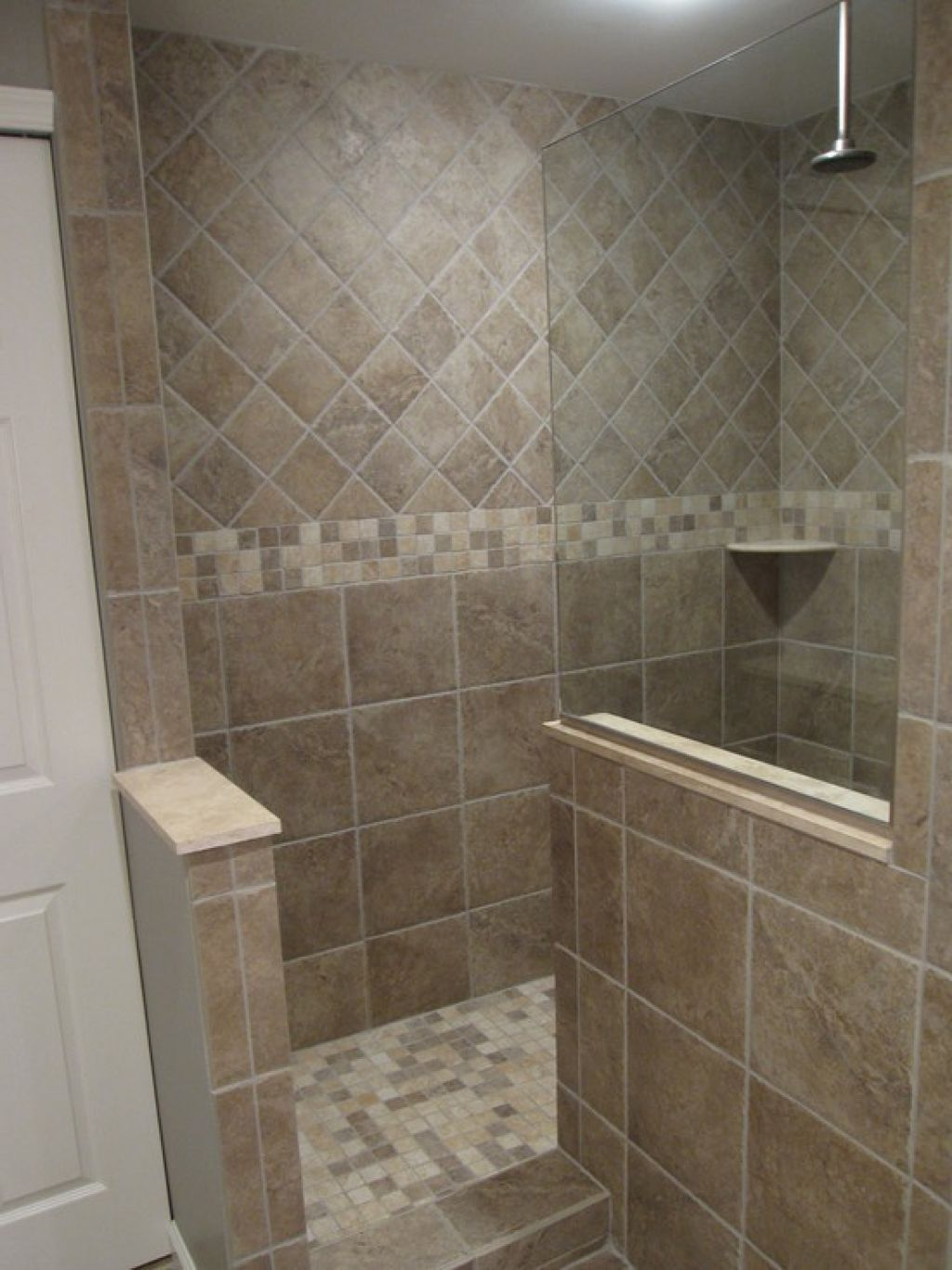 Bathroom the required size of doorless walk in shower for Master bathroom no door