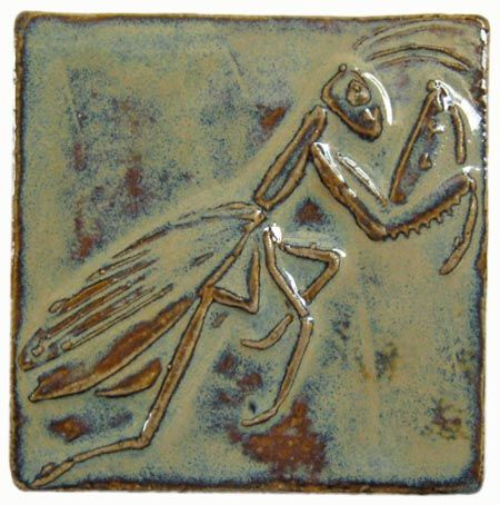 Praying Mantis Art Tile, 3 inches square
