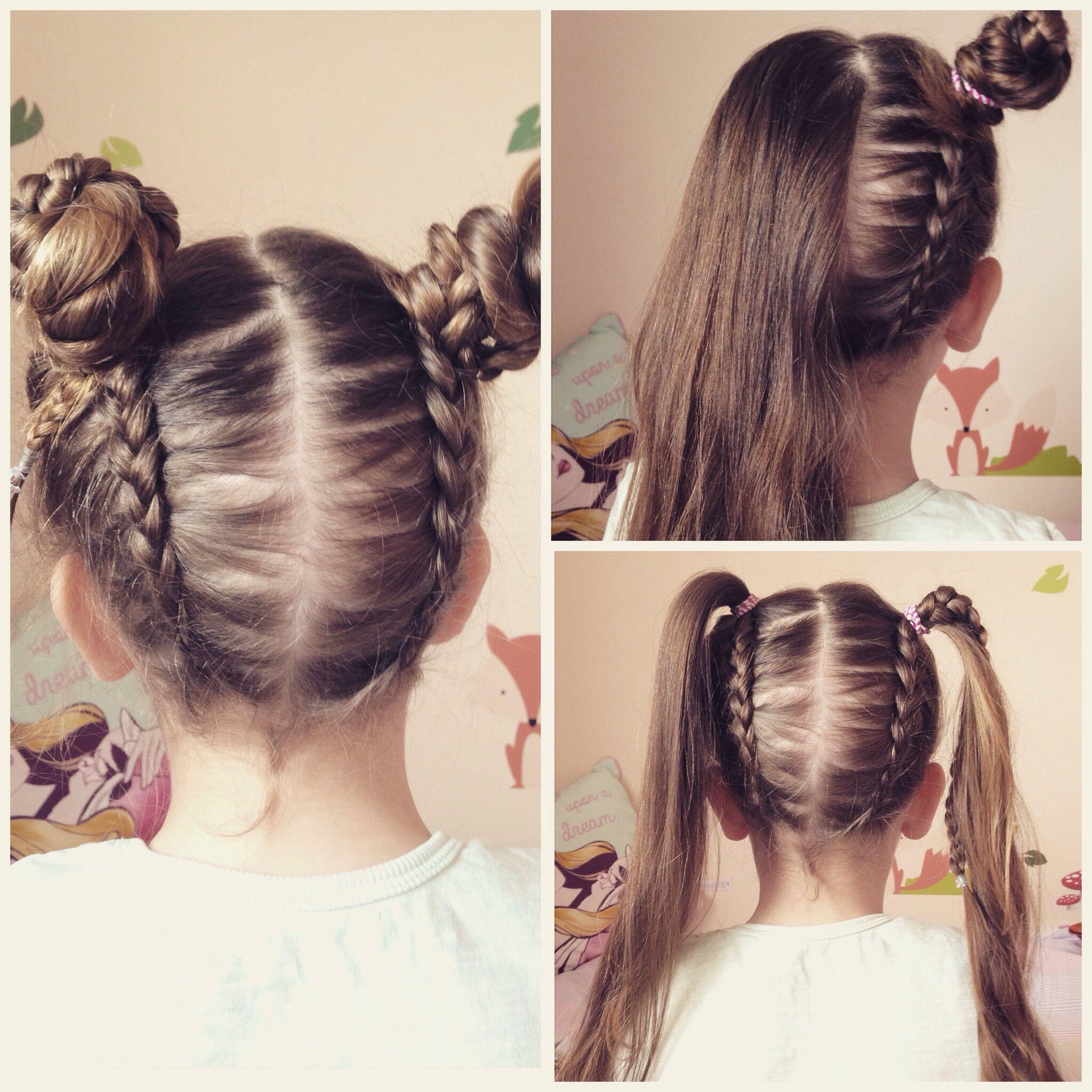 Upside down dutch braid into messy bun pigtails. Little