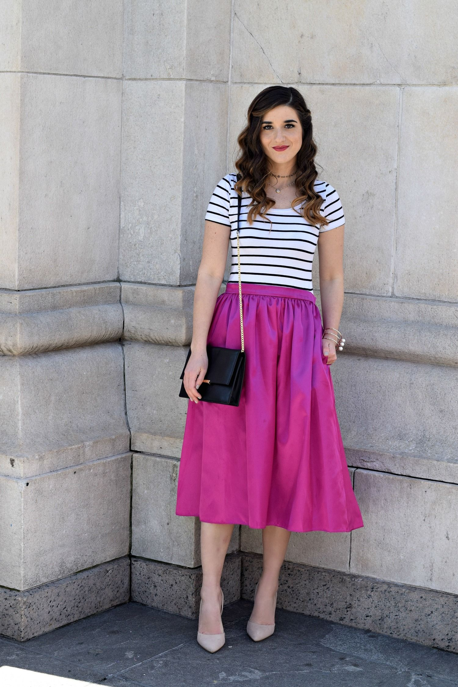 Fuchsia pink midi skirt with pockets available at Mode-sty #nolayering