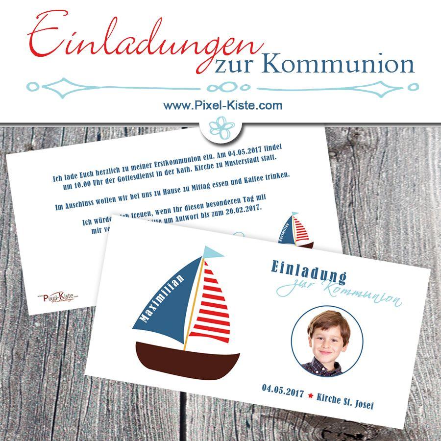 einladungskarten kommunion boot | foto online, einladung zur, Einladung
