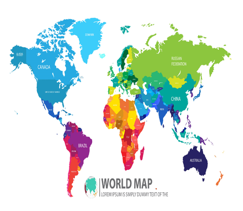 Colored World Map 2 Aj Walls 1 Map Wallpaper Print Decals World Map