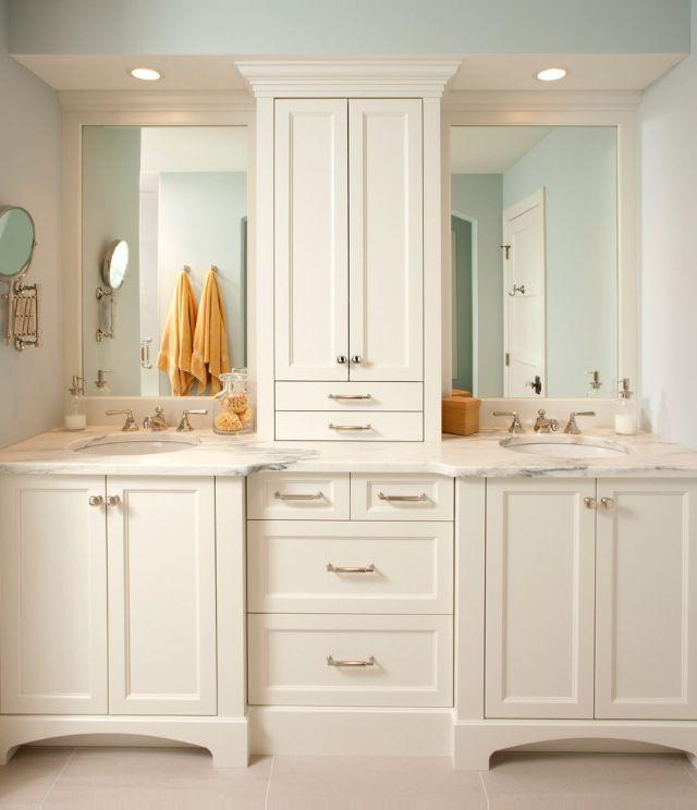 Photo of White bathroom cabinets