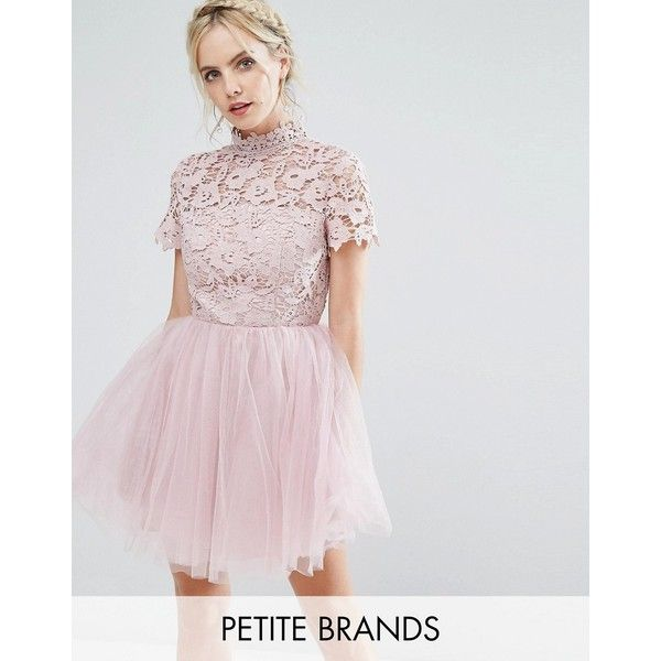 Chi Chi London Petite Lace Top Full Prom Mini Dress With Tulle Skirt (1.362.855 IDR) ❤ liked on Polyvore featuring dresses, pink, short prom dresses, short lace dress, lace mini dress, lace cocktail dress and open back prom dresses
