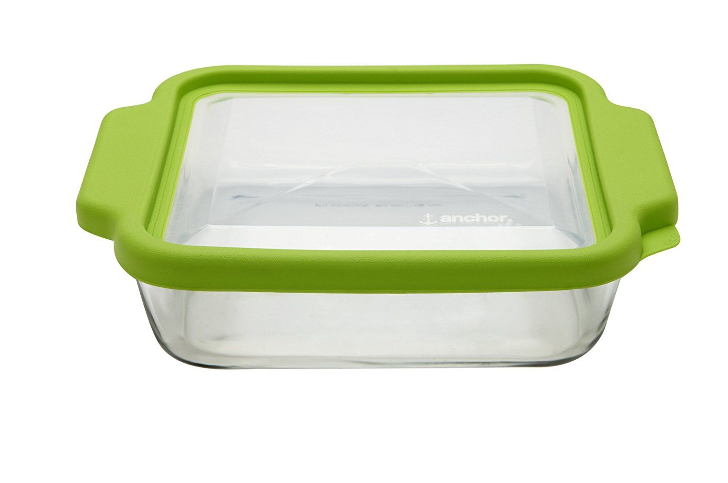 Anchor hocking 8inch square cake dish with green truefit