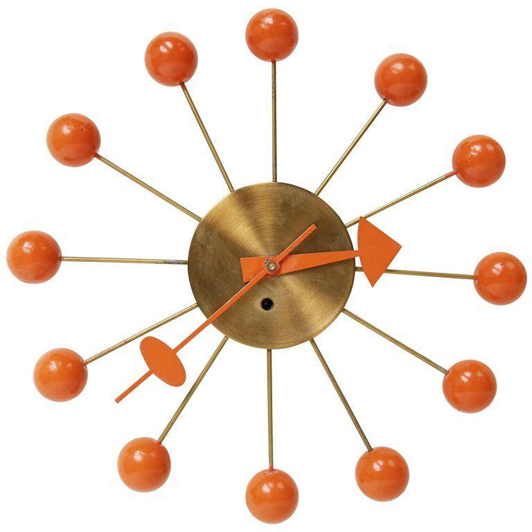 George Nelson Orange Ball Clock For Howard Miller Circa 1950 1 In 2020 Antique Wall Clocks Howard Miller George Nelson