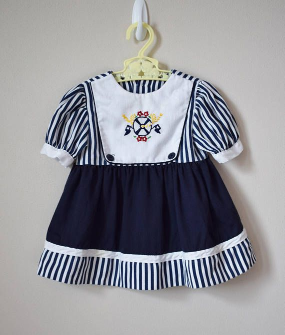 Vintage Nautical Dress For Girl Size 12 Months Vintage Dress