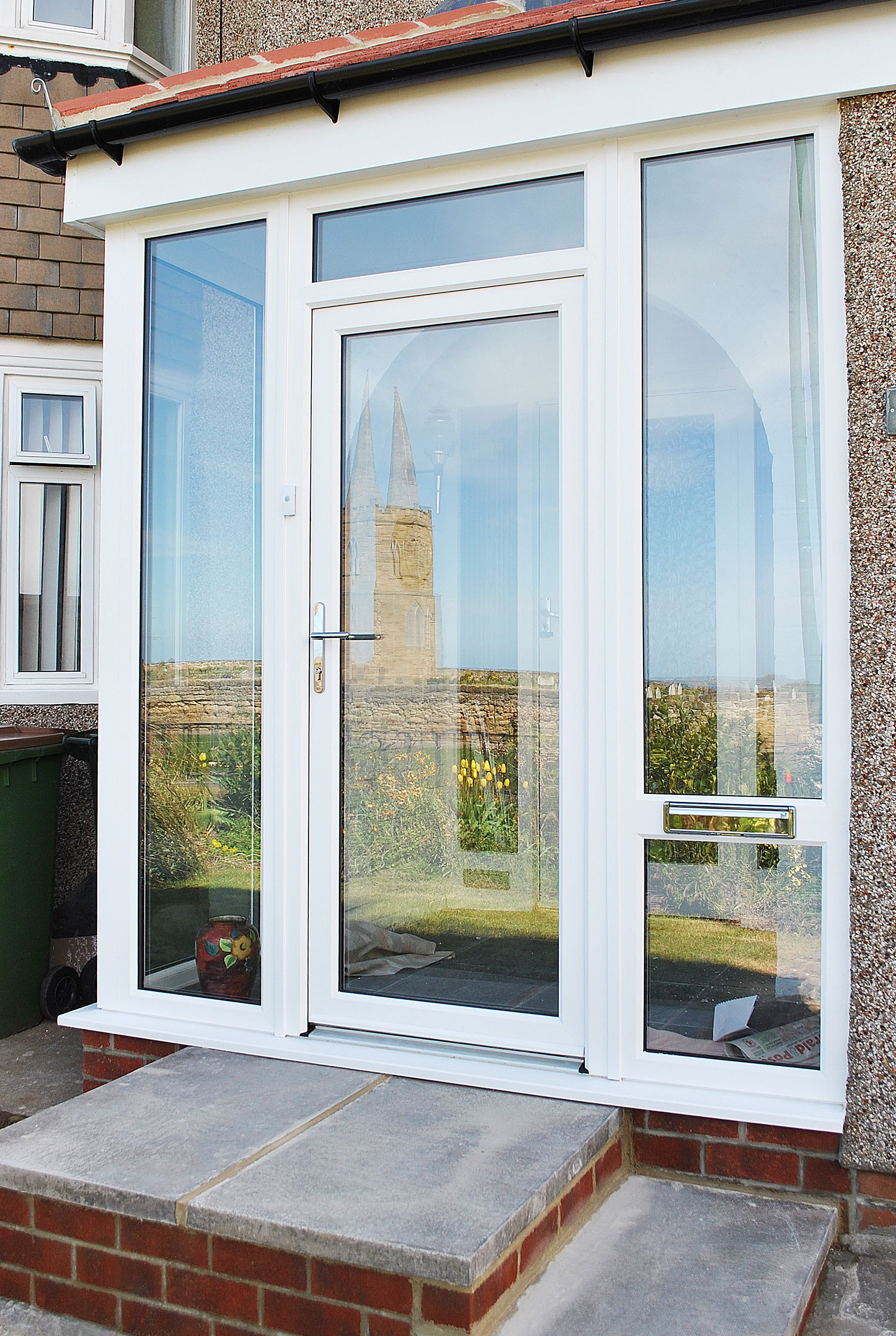 Fenesta upvc doors windows glass flooring - Bright And Simple Porch Renovation In Rehau White Upvc Profile With Top Light