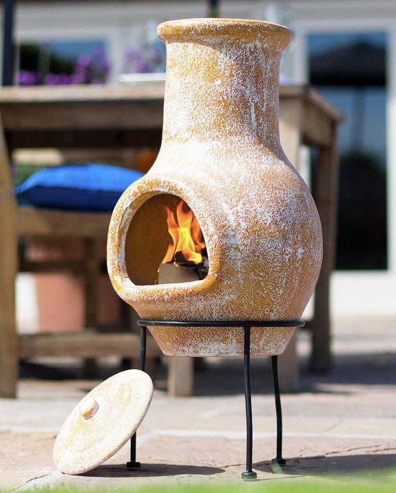 Small Garden Chiminea Outdoor Patio Heater Chimney Fire Pit Log Burner Clay New Unbranded Patio Heater Log Burner Fire Pit Logs