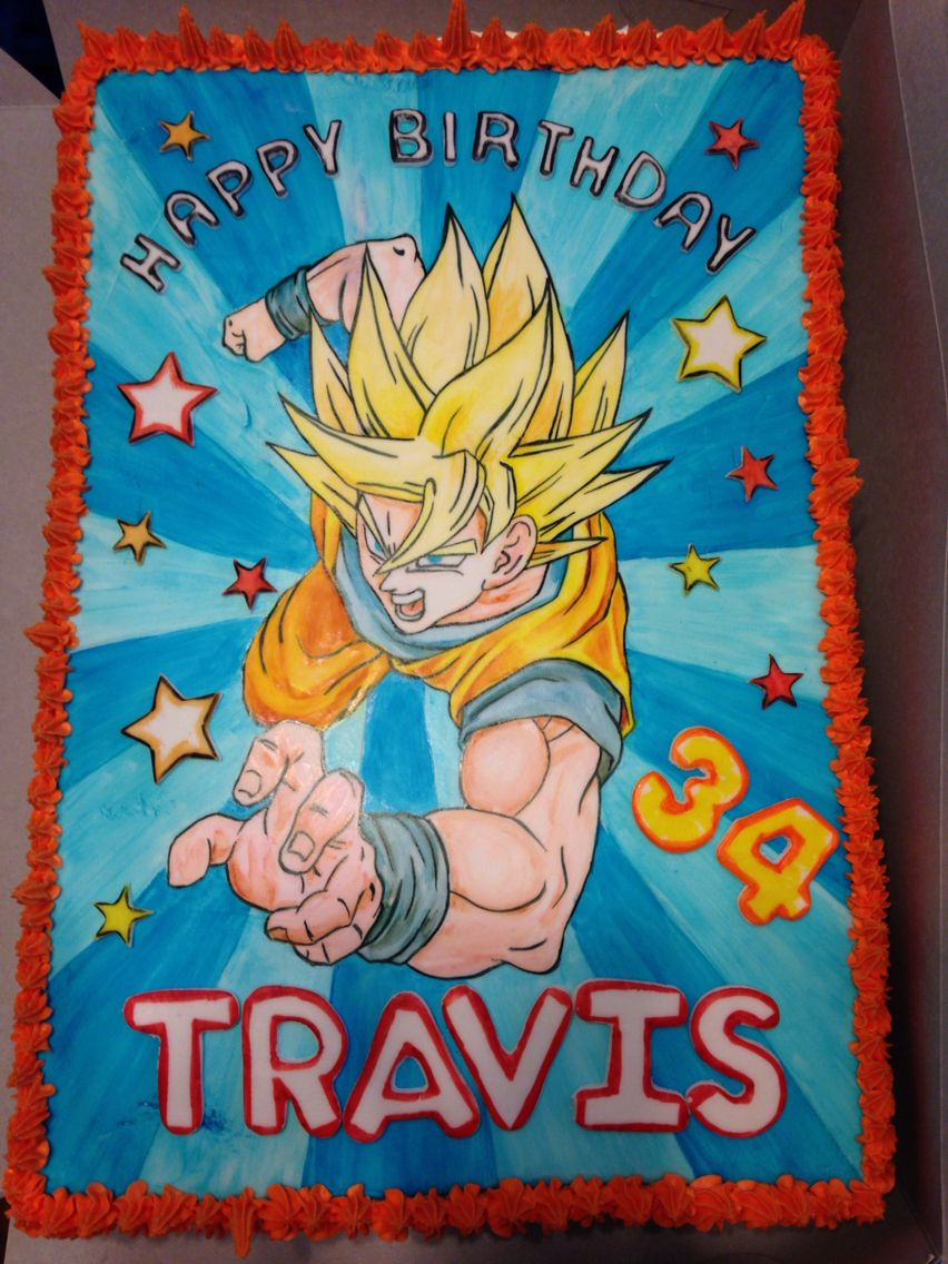 Dragon ball z cake 1 2 sheet with fondant top hand painted with gel food colors