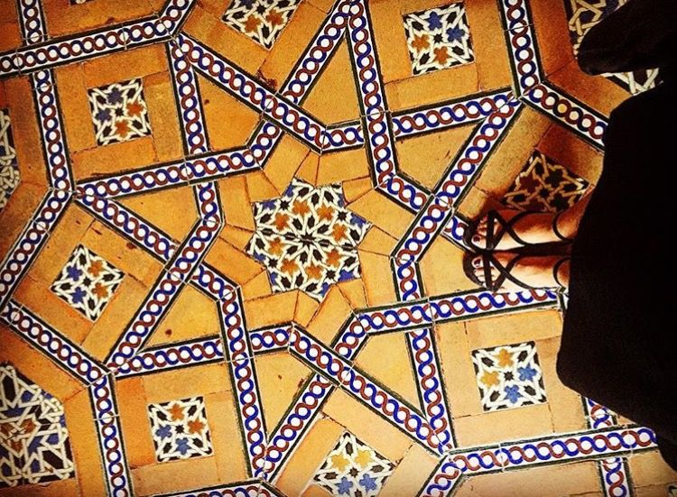 this is the mosaic floor of real alcazar in seville spain this this is unlike the other two examples of art in this visual essay because the pieces are not square tiles