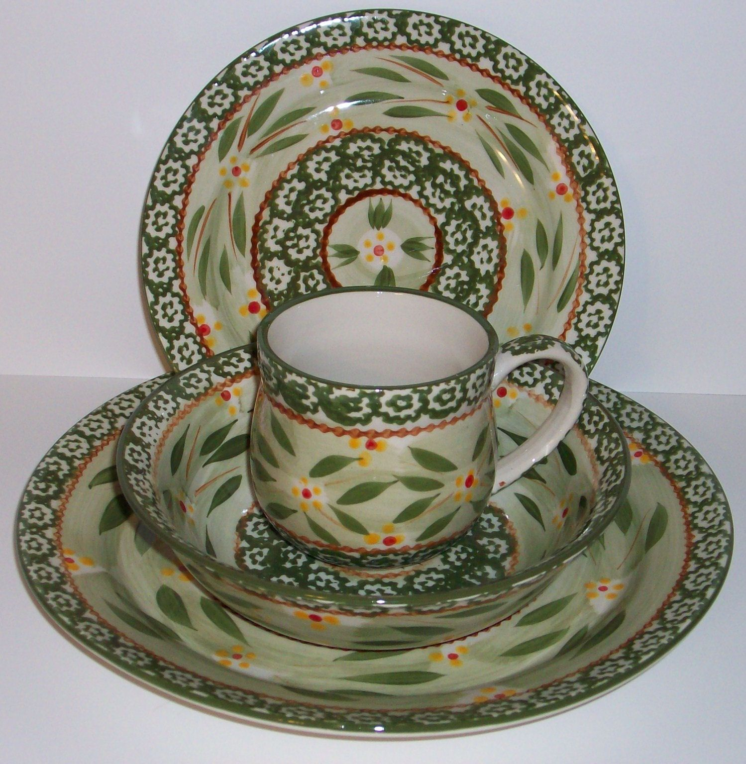 Temp Tations Temptations 4Pc Dinnerware Set Old World Green  New Shop Storesale
