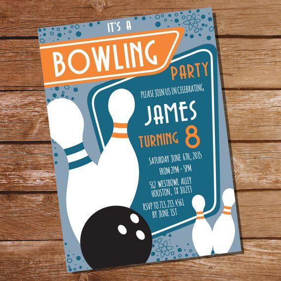 Retro Bowling Party Invitation Bowling by SunshineParties Boys - bowling invitation