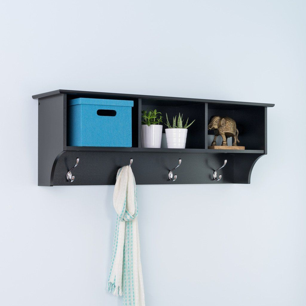 Hallway storage with hooks  Black Entryway Cubbie Shelf  Shelving Front hallway and Mudroom