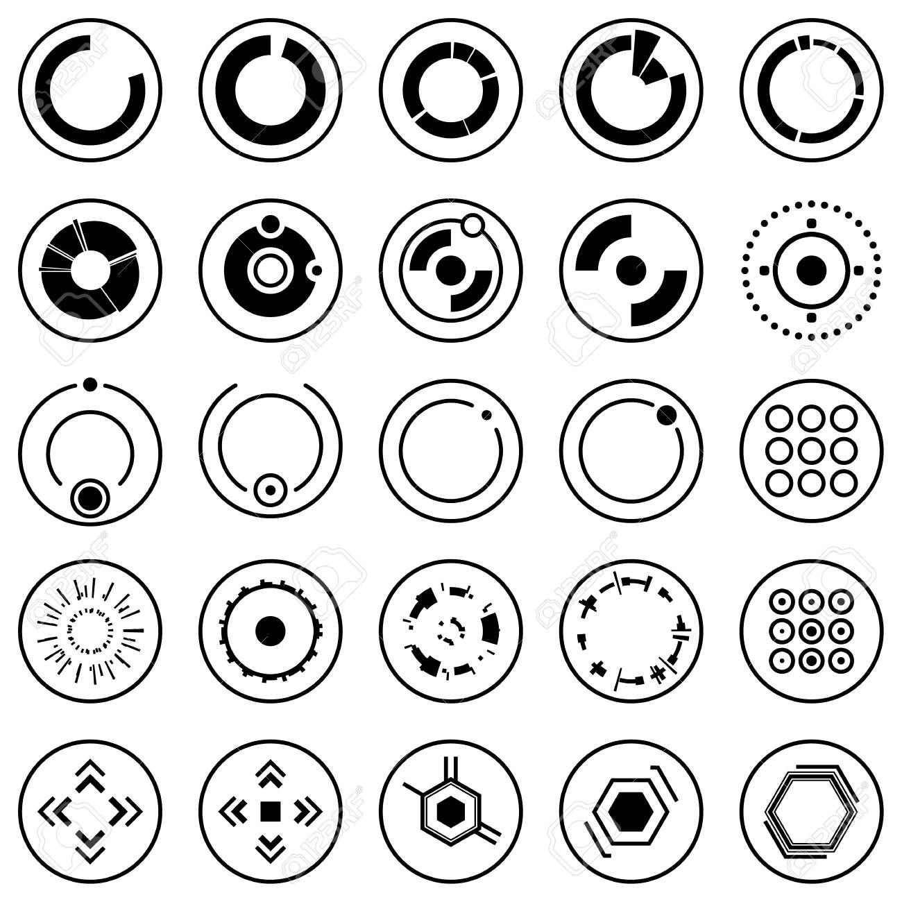 Futuristic icons of Set of info graphic elements and