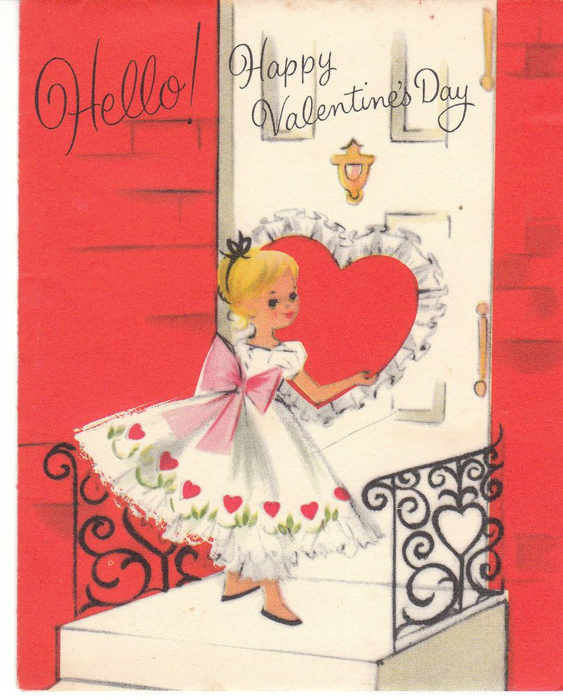Vintage Valentine Card Girl In Party Dress At Front Door American