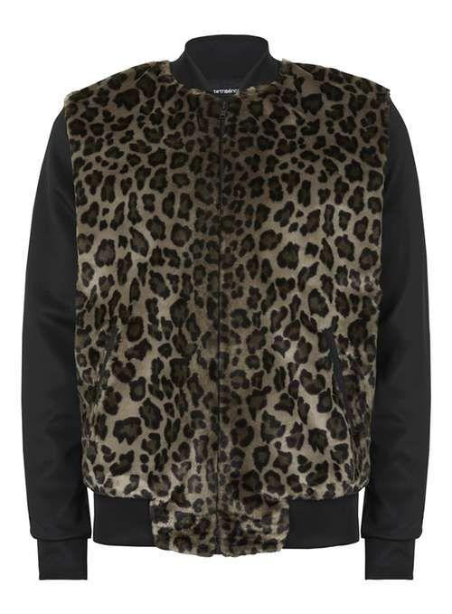 da0050a7f AAA Leopard Print Faux Fur Front Bomber Jacket - Men's Coats & Jackets -  Clothing - TOPMAN