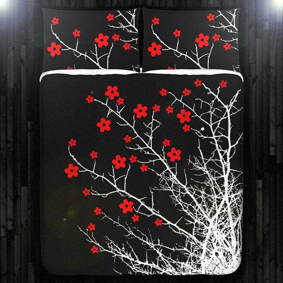 Cherry Blossom Duvet Cover Cherry Blossom Blanket Cherry Etsy Red Cherry Blossom Boys Duvet Cover Duvet Covers