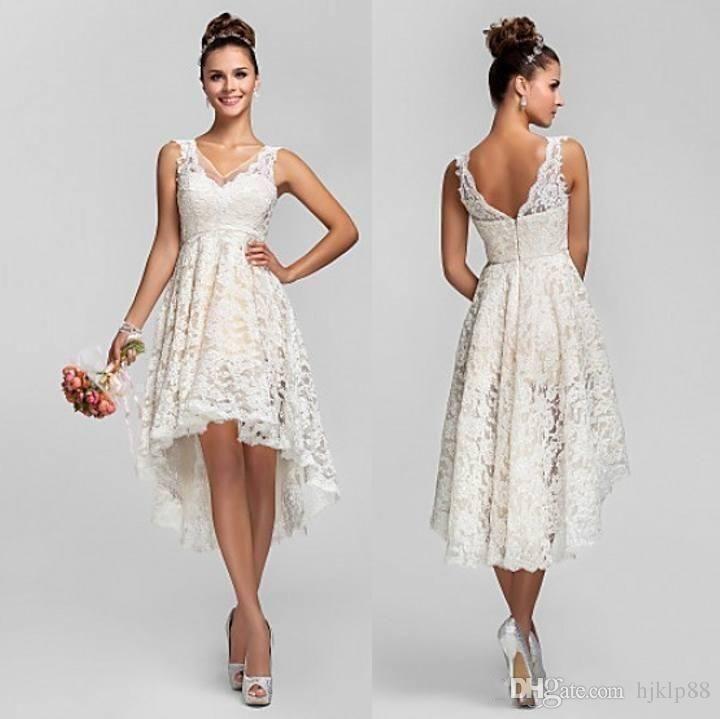 Suosikki 2017 High Low Short Front Long Back Beach Wedding: 2017 V-Neck Full Lace High Low Wedding Dresses Sleeveless