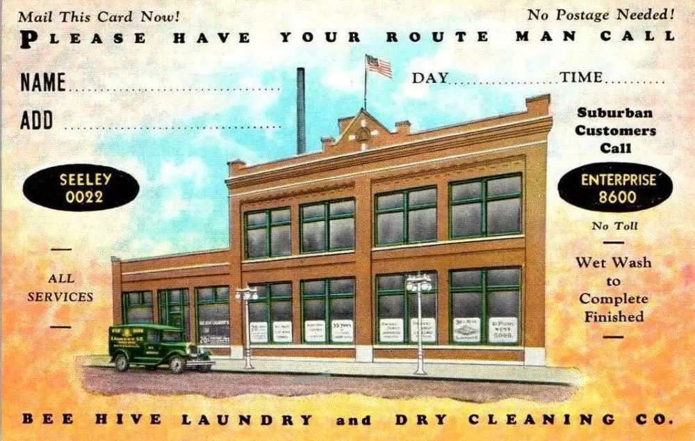 POSTCARD CHICAGO BEE HIVE LAUNDRY AND DRY CLEANING