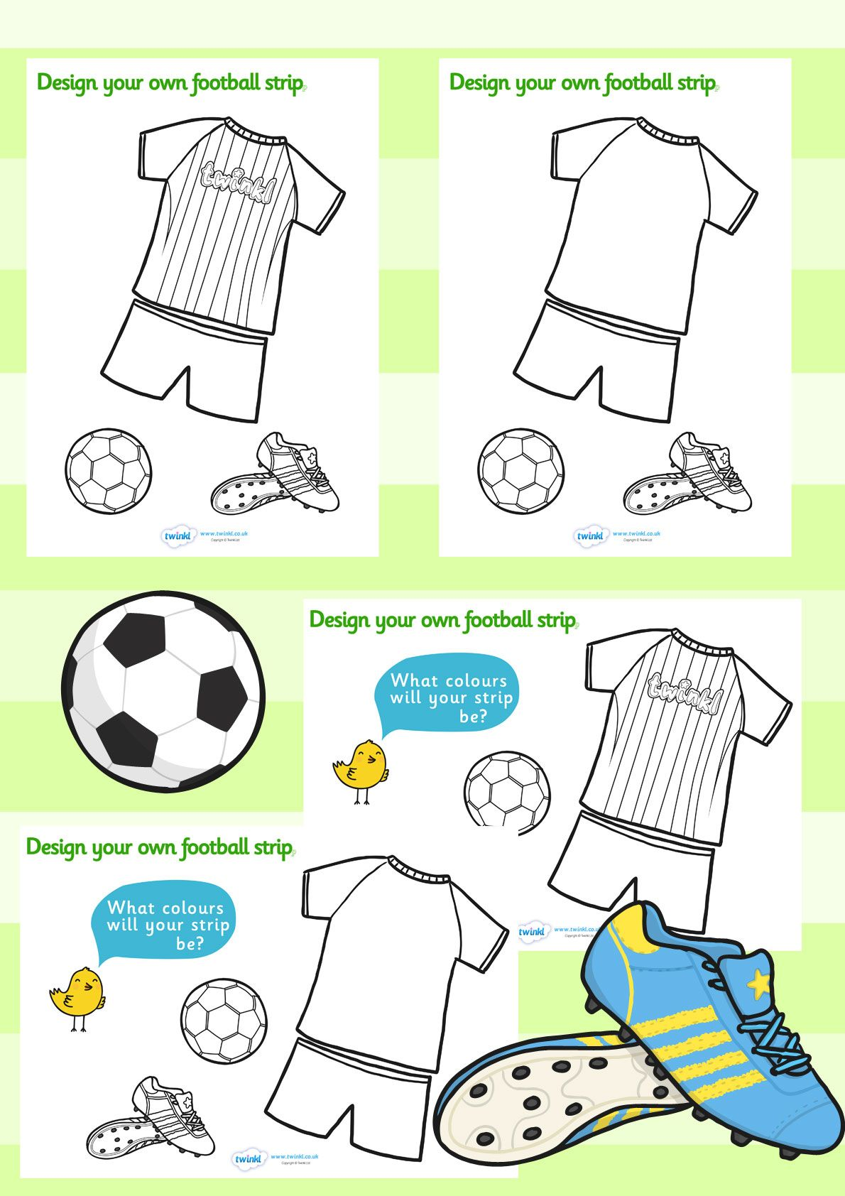 Football/World Cup- Design a football strip worksheet