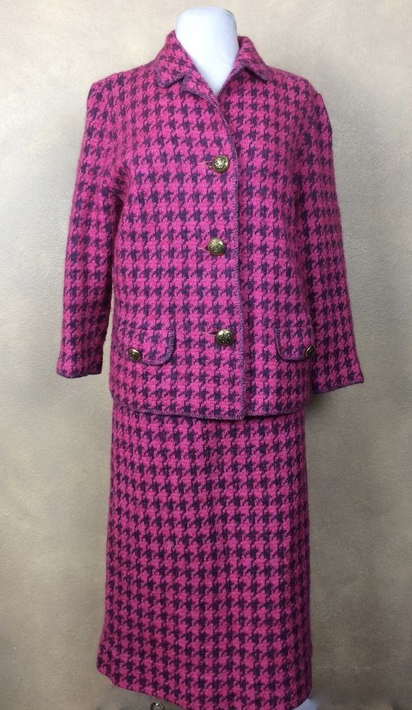 I. Magnin & Co. 60\'s Vintage Woman\'s Houndstooth Suit Knit Skirt ...