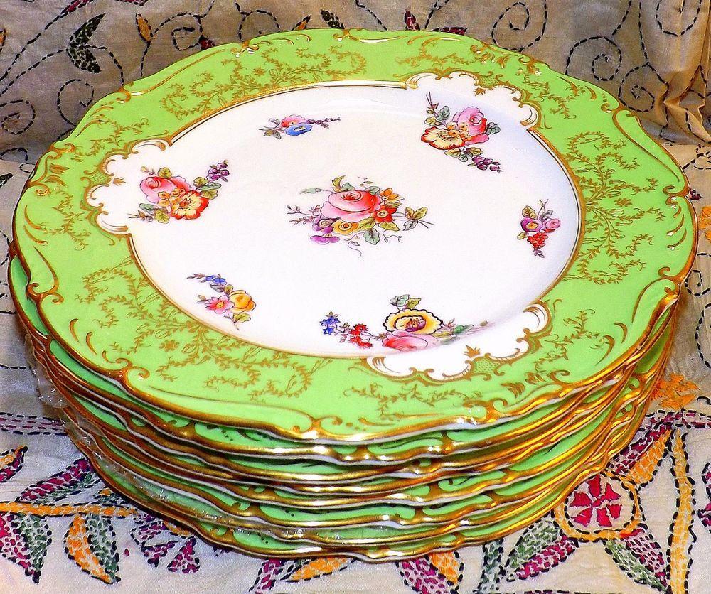Set Of 8 Antique Coalport England Osborne Pattern Bone China Dinner Plates Coalport Bone China China Tea Cups Vintage Tableware