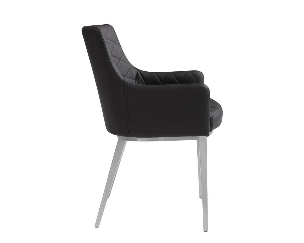 This sleek yet transitional chase dining armchair features brushed