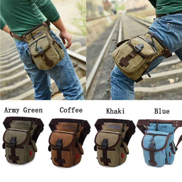 Mens canvas pockets Outdoor sports casual Messenger bag