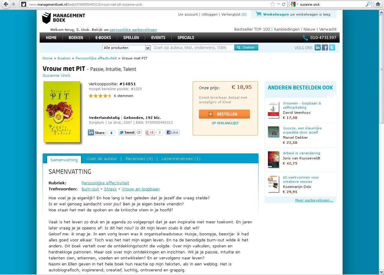 Mijn eerste boek 'Vrouw met PIT - Passie, Intuïtie, Talent' is overal (online) te koop.