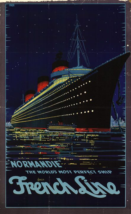 French Advertising Art Deco Travel Sign World Cruise