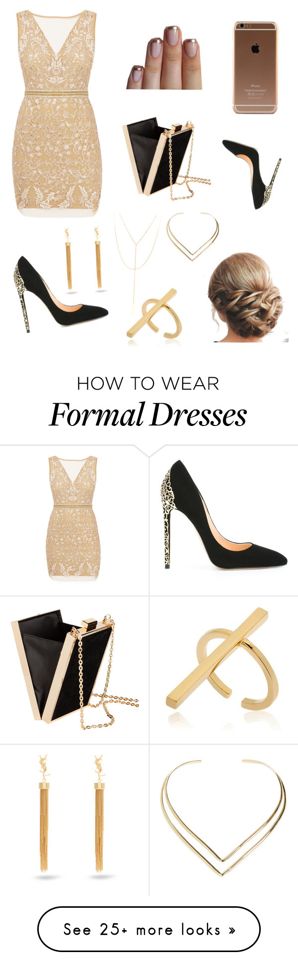 """""""Gold"""" by roli17 on Polyvore featuring Nicole Miller, Cerasella Milano, H&M, Schield Collection, Yves Saint Laurent, South Moon Under and Natalie B"""