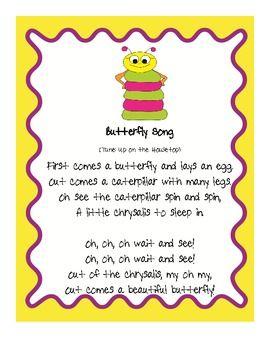 caterpillar song preschool butterfly song fluency activities songs activities and 395