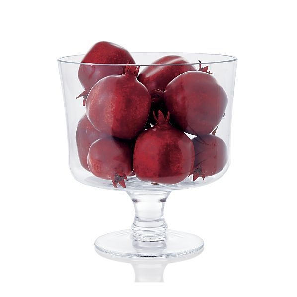 Elevated elegance. Crafted from very clear glass, this updated trifle bowl enhances the appearance of the delicacies within. Display and serving bowl features a classic straight-sided, footed design with a fancy, molded thick stem. The perfect setting for trifle, fruit and vegetable salads, and layered dishes.