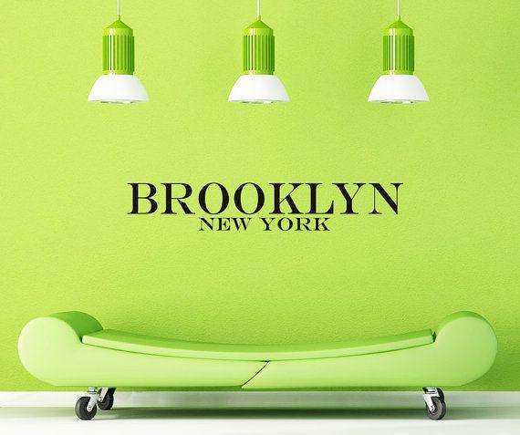 Brooklyn NY New York Vinyl Wall Decals Art By VillageVinePress - Custom vinyl decals brooklyn