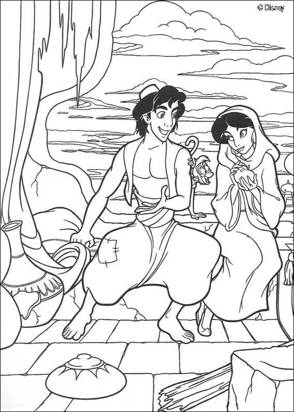 Jasmine et Aladdin de Disney | Coloriages Disney | Pinterest ...