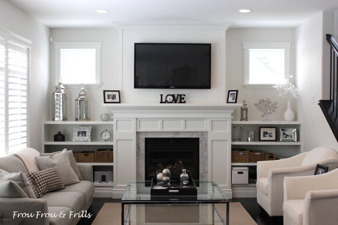 Diy family room builtins with marble fireplace surround built ins