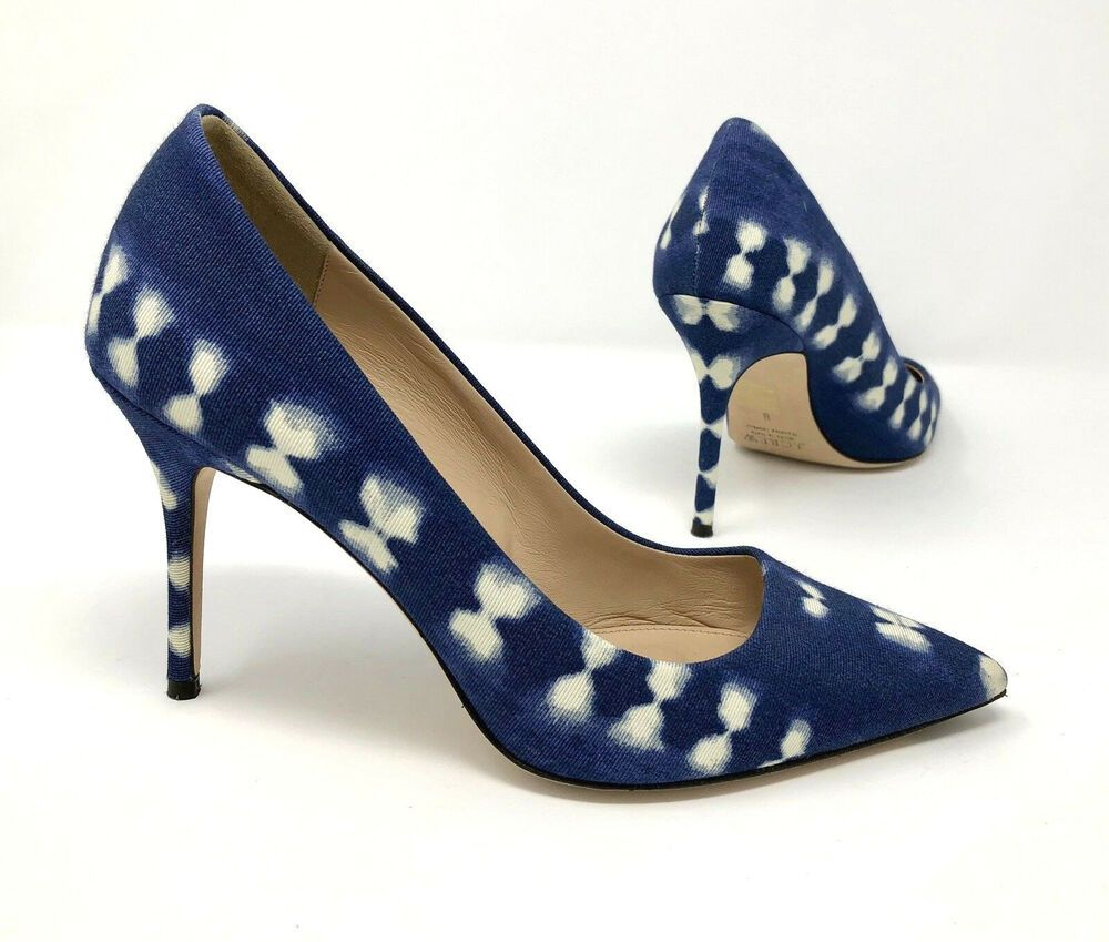 3566aaf6121c J Crew Elsie Pump Size 8 Heels Natural Indigo Blue White Bow Textile Fabric  Shoe  JCREW  PumpsClassics  Dress