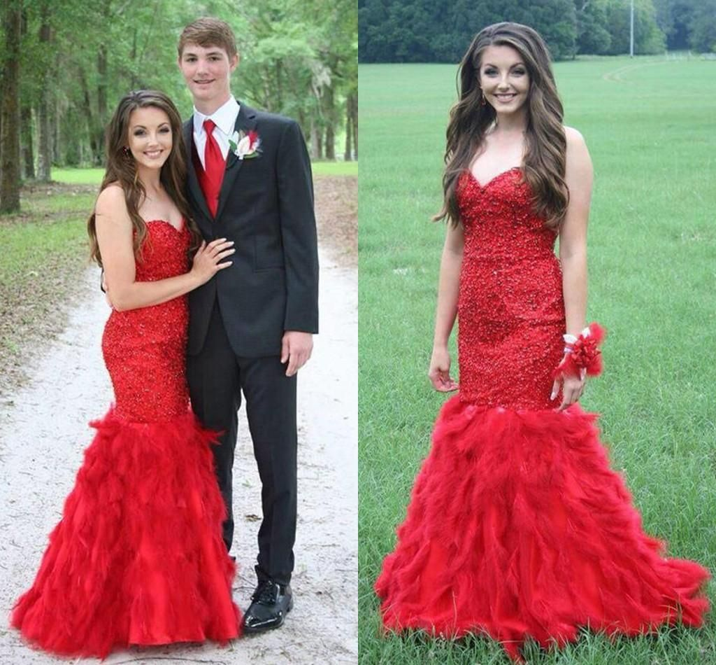 Red Feathers Arabic Prom Party Dresses Mermaid Backless Sweetheart ...