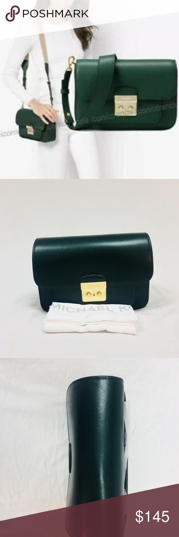 7aab90e3fb02 Michael Kors Large Sloan Editor Leather Green NWT Michael Kors Large Sloan  Editor Leather Shoulder Bag