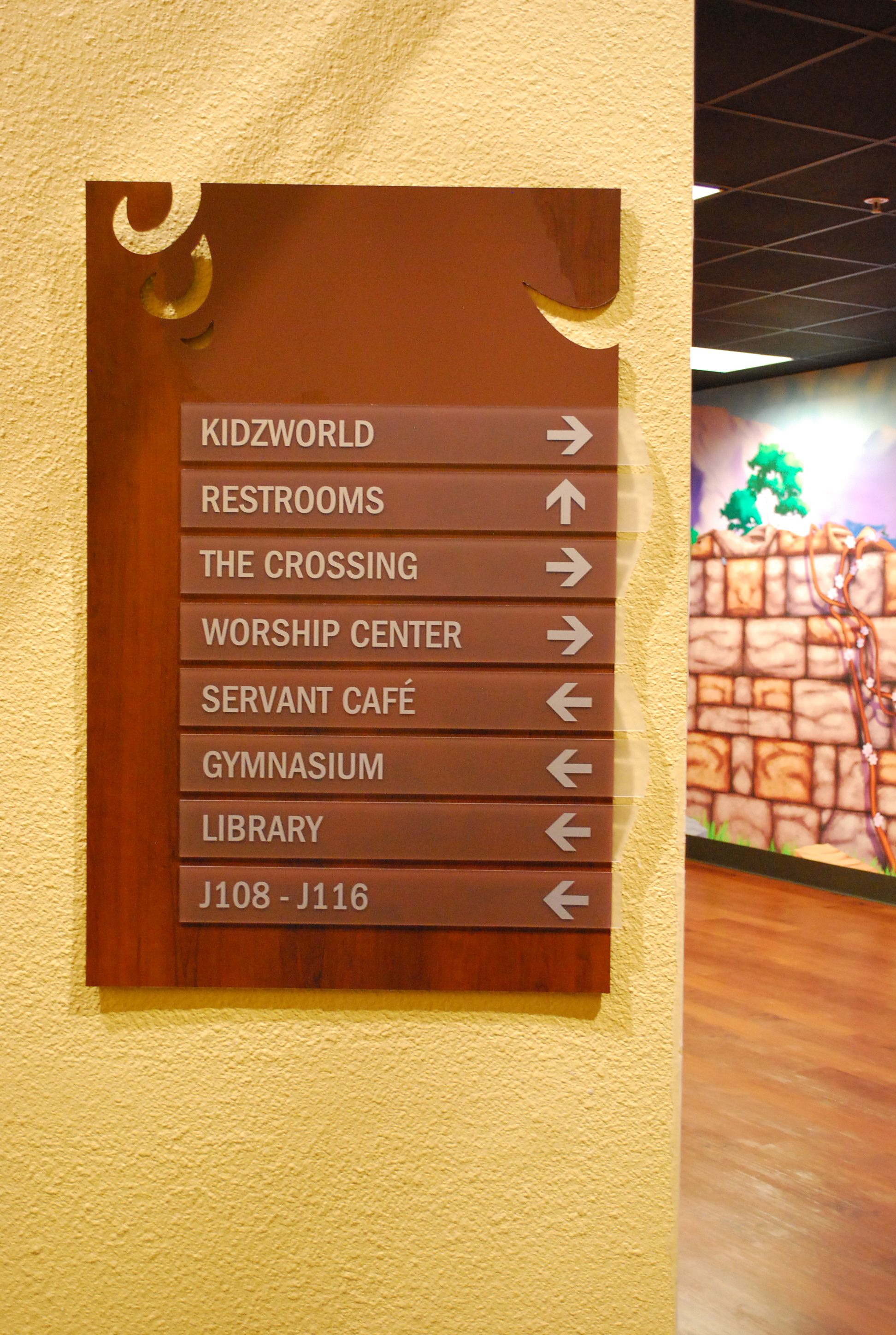 Their Wayfinding Signage Complements Their Vision Statement Wall Design Interior Church